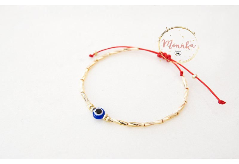 Evil Eye Bracelet. Red String Bracelet. Gold Beaded Kabbalah Bracelet