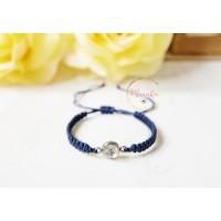 Crystal Bracelet. Blue String Macrame Bracelet