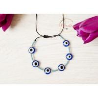 Miyuki Bracelet. Blue Evil Eye Bracelet. Tribal, Boho, Layering Bracelets