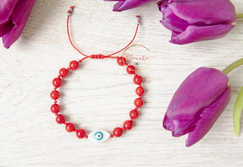Evil Eye Bracelet. Red Agate Beads Macrame Bracelet. Red String Kabbalah Bracelet.
