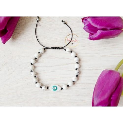 Evil Eye Bracelet. White Turquoise Beads Macrame Bracelet. Black String Kabbalah Bracelet.