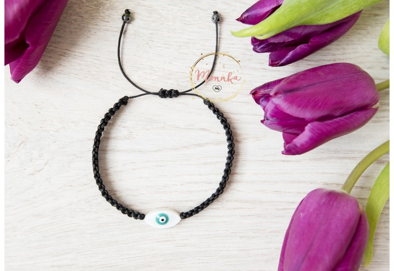 Evil Eye Bracelet. Black Macrame Bracelet. Black String Kabbalah Bracelet.