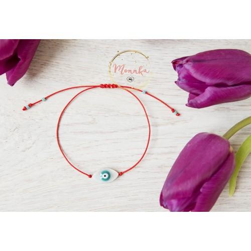 Blue Evil Eye Bracelet. Red String Kabbalah Amulet. Good Luck, Mati Nazar Protection. Shell Evil Eye