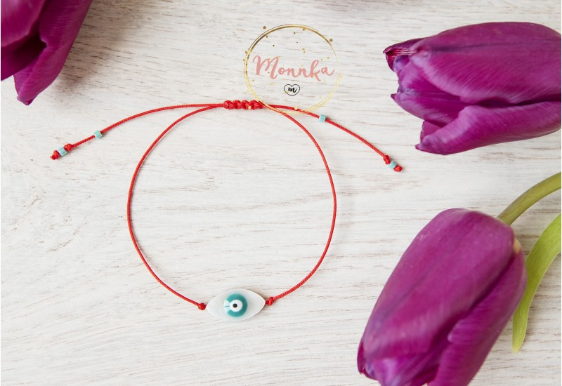 Blue Evil Eye Bracelet. Red String Kabbalah Amulet. Good Luck, Mati Nazar Protection. Shell Evil Eye