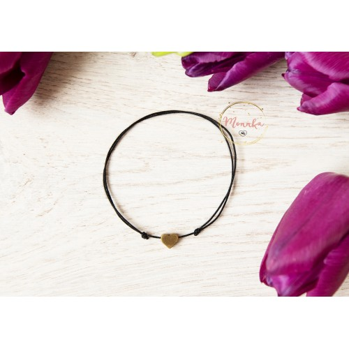 Black String Bracelet. Antique Bronze Heart Bead. Kabbalah String Amulet