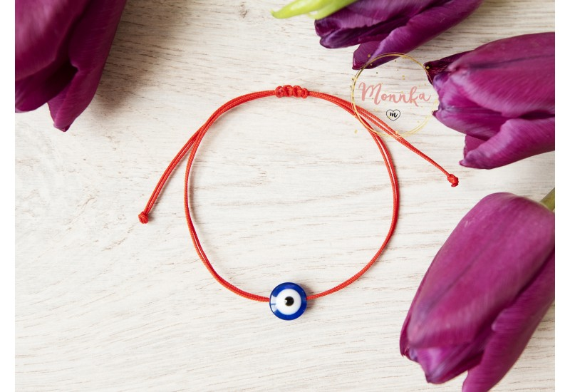 Blue Evil Eye Bracelet. Red String Kabbalah Amulet. Good Luck, Mati Nazar Protection.
