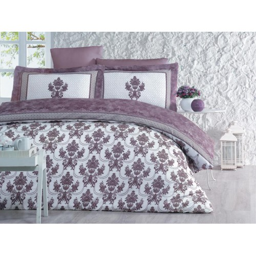 100 % Cotton White Purple Floral Design Full Double 6 Pieces Bedding Duvet Cover Luxury Set