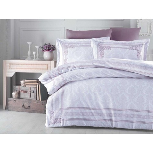 100 % Cotton Light Purple Design Full Double 6 Pieces Bedding Duvet Cover Luxury Set