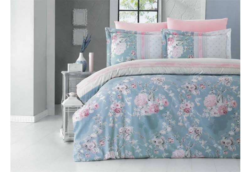100 % Cotton Blue Pink Floral Design Full Double 6 Pieces Bedding Duvet Cover Romantic Set