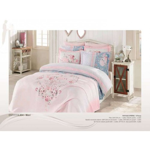 9 Pcs Large Bedding Set - Blue Pink Floral Design Full Double 9 Pieces Bedding Duvet Cover Romantic Set