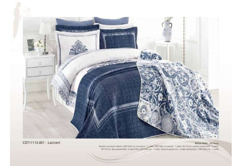 9 Pcs Large Bedding Set - Blue Floral Design Full Double 9 Pieces Bedding Duvet Cover Romantic Set