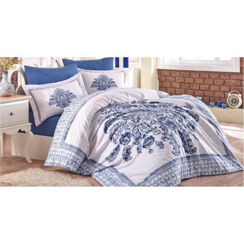 100 % Cotton Blue White Floral Design Full Double 6 Pieces Bedding Duvet Cover Romantic Set