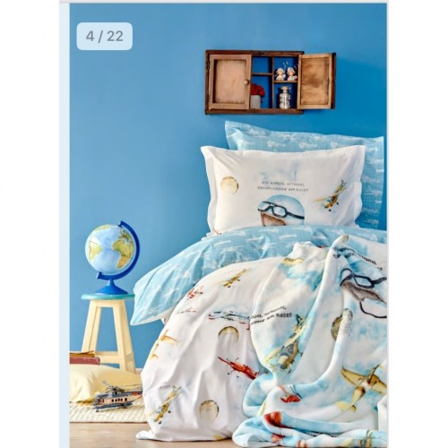 100% Cotton Single Duvet Cover Boys Set - Plane
