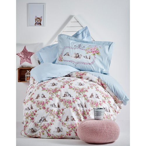100% Cotton Single Duvet Cover Girls Set - Kittens