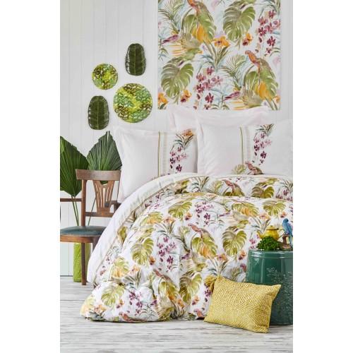 100 % Cotton Tropical Leaf Print Full Double 4 Pieces Bedding Duvet Cover Set