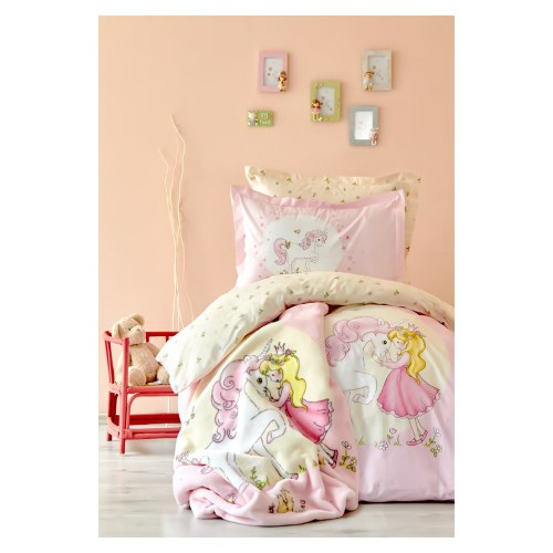 100% Cotton Single Duvet Cover Girls Set - Pink Pony