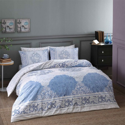 TAC Blue Design Pink Full / Double / Queen 4 Pieces Bedding Set, 100 % Cotton Floral Quilt / Duvet Cover Set with Duvet Cover, Flat Sheet and 2 Pillowcases