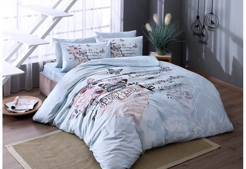 TAC Butterfly Floral Design Blue Full / Double / Queen 4 Pieces Bedding Set, 100 % Cotton Floral Quilt / Duvet Cover Set with Duvet Cover, Flat Sheet and 2 Pillowcases
