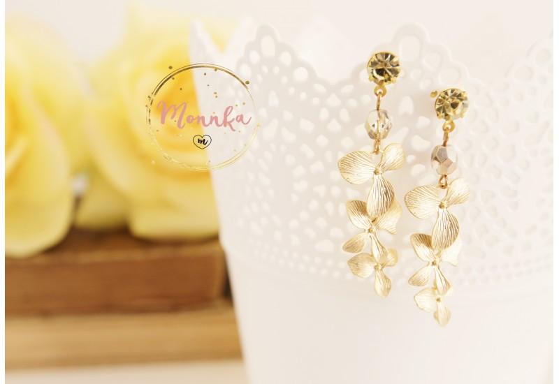 Orchids Earrings, Matte Gold Rhodium Plated Dangle Drop Flower Earrings