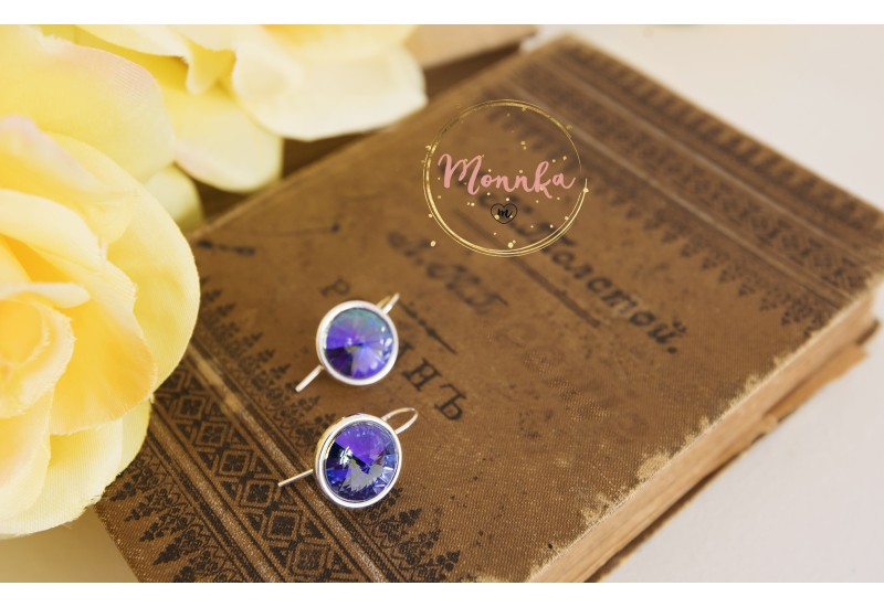 Purple Crystal Earrings. Sterling Silver Drop Swarovski Earrings - AB Tanzanite Lavender