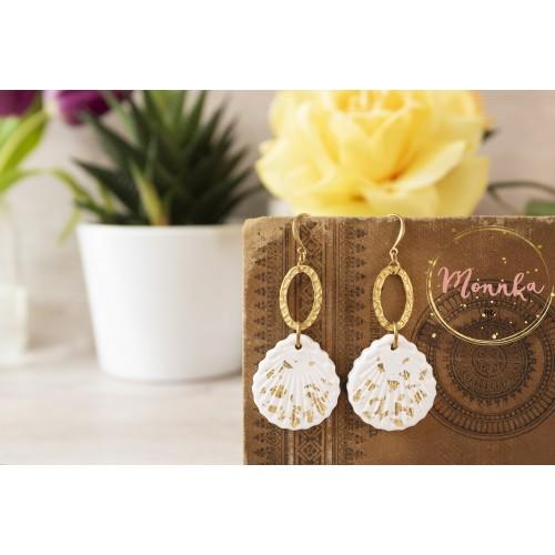 Polymer Clay Shell Earrings. Brass Long Statement Earrings, Gold Dangle Earrings