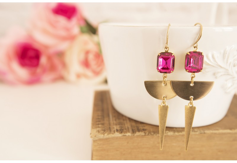 Long Brass Chandelier Earrings, Statement Triangle Earrings