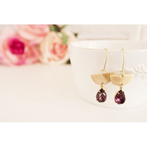 Brass Chandelier Earrings. Statement Earrings