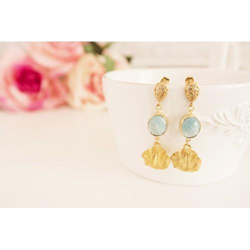 Brass Long Statement Earrings, Blue Aquamarine Stones, Leaf Dangle Earrings