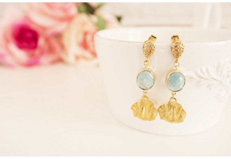 Brass Long Statement Earrings, Blue Aquamarine Stones, Leaf Dangle Earrings