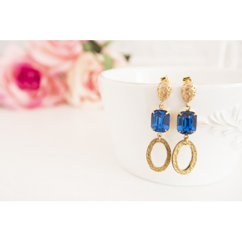 Brass Long Statement Earrings, Capri Blue Octagon Stones, Dangle Boho Earrings