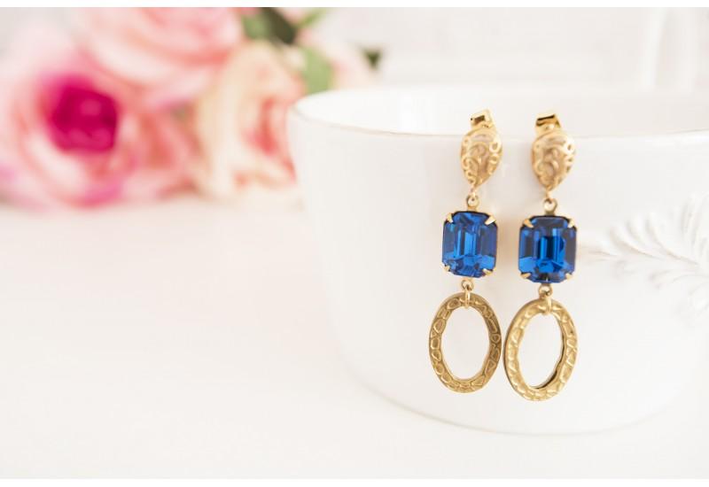 Brass Long Statement Earrings, Capri Blue Octagon Stones, Dangle Boho Earrings