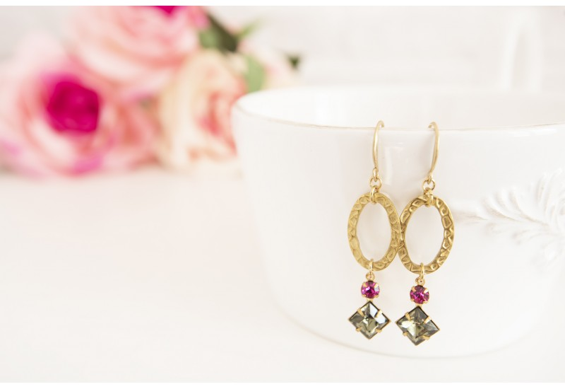 Brass Long Statement Earrings, Fuchsia and Vintage Octagon Stones