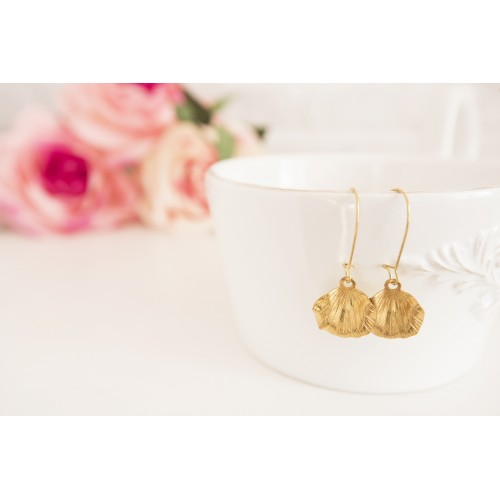 Golden Leaf Earrings, Brass Leaf Earrings