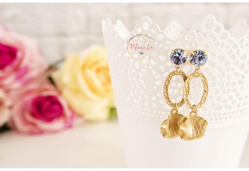 Brass Long Statement Earrings, Golden Leaf Dangle Earrings