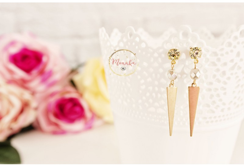 Triangle Earrings, Swarovski Crystal Earring Posts