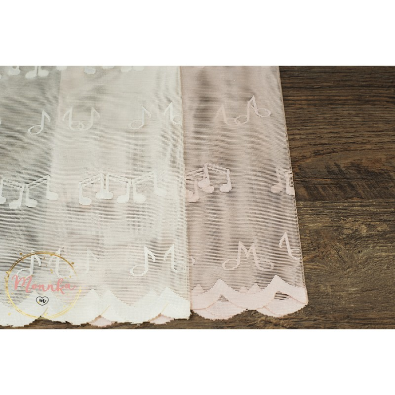 Pink Or White Music Notes Lace Curtain Panel For A Baby Nursery Room Custom Curtains Hand Sched Window Panels