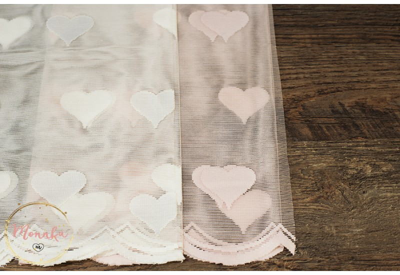 Pink or White Heart Lace Curtain Panel for a baby girl / nursery room. Custom Curtains: Hand Stitched Window Curtains, Window Panels