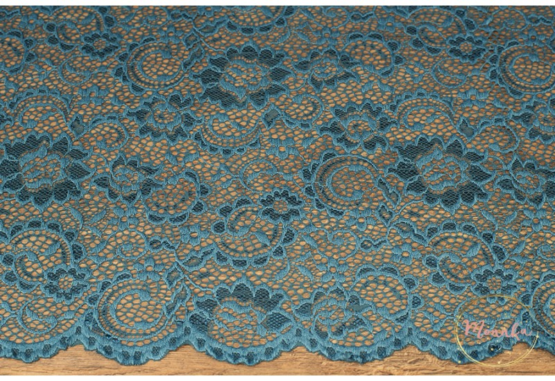 Teal Blue Lace Curtain Panel. Custom Curtains: Hand Stitched Window Curtains, Window Panels
