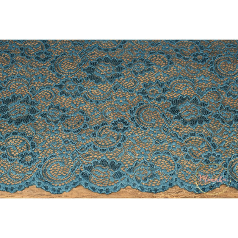 Teal Blue Lace Curtain Panel Custom Curtains Hand Sched Window Panels