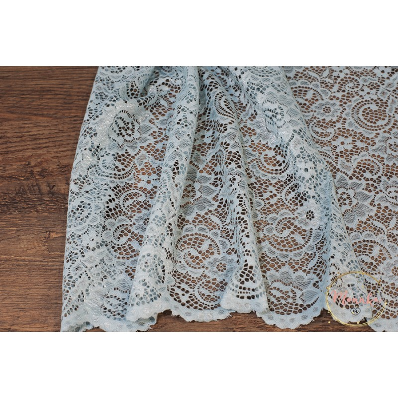 Light Blue Lace Curtain Panel Custom Curtains Hand Sched Window Panels