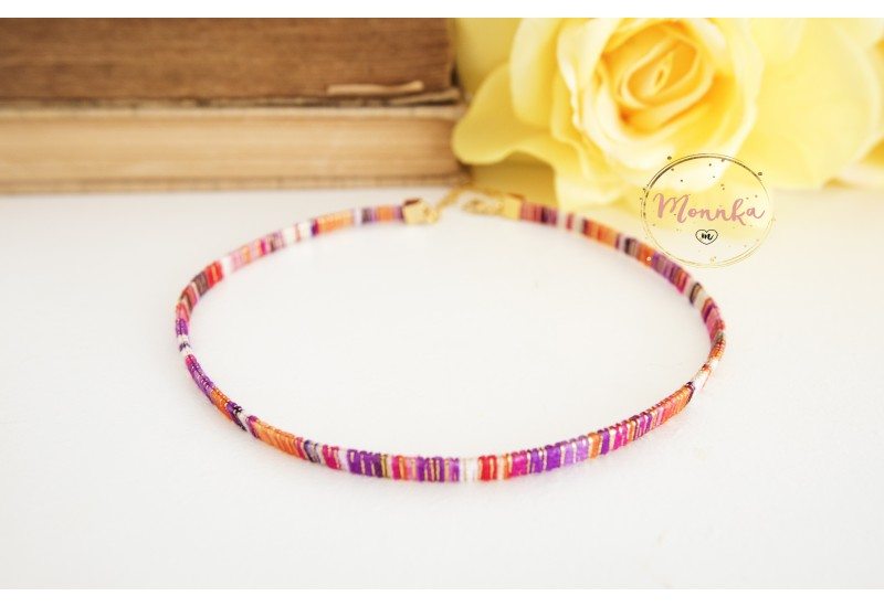 Colorful Choker. Trendy Multi Colored Necklace. Boho Jewelry