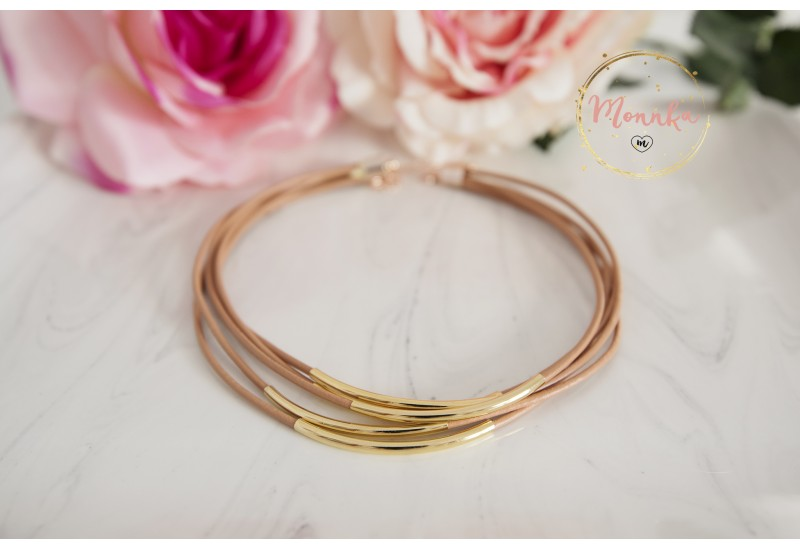 Tube Choker. Nude Leather Necklace. Multi Strand Gold Tube Trendy Choker