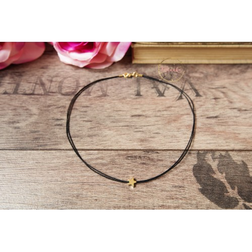 14k Gold Plated Star Choker. Black Simple Choker. Bohemian Choker