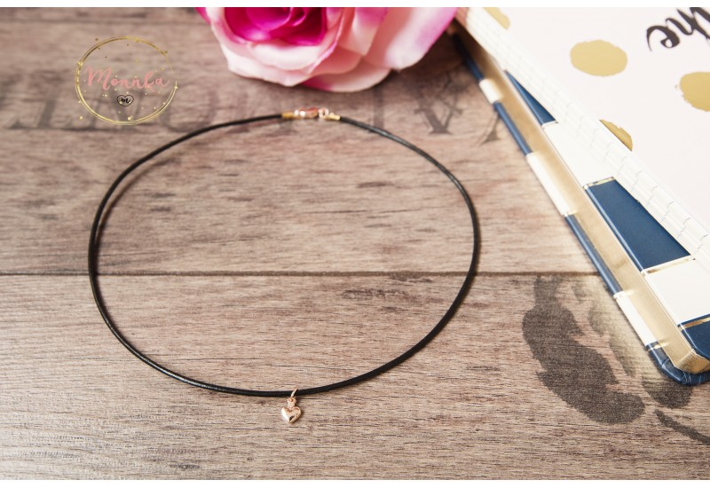 Black Leather Choker. 14k Rose Gold Plated Heart Charm. Bohemian Leather Choker