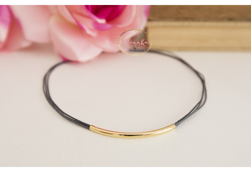 Gold Tube Choker. Gray String Choker. 14k Gold Plated Layering Trendy Handmade Necklace