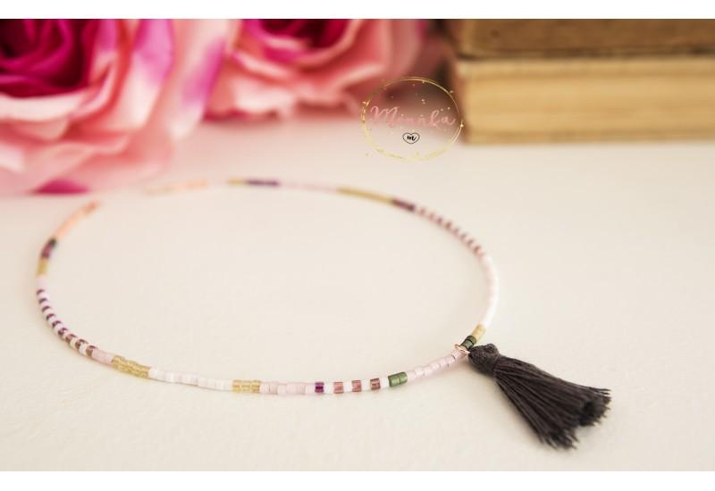 Miyuki Choker. Tassel Layering Necklace. Boho, Tribal, Gypsy Jewelry