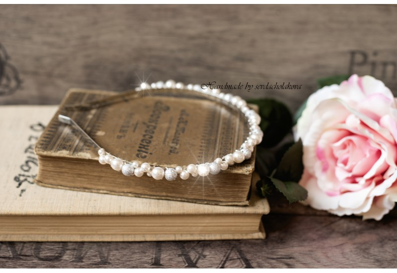 Bridal Tiara Headband. Swarovski Pearls Rhinestone Balls. White or Cream/ Ivory Beaded Silver Metal Hair Flower Girl Wedding Accessories