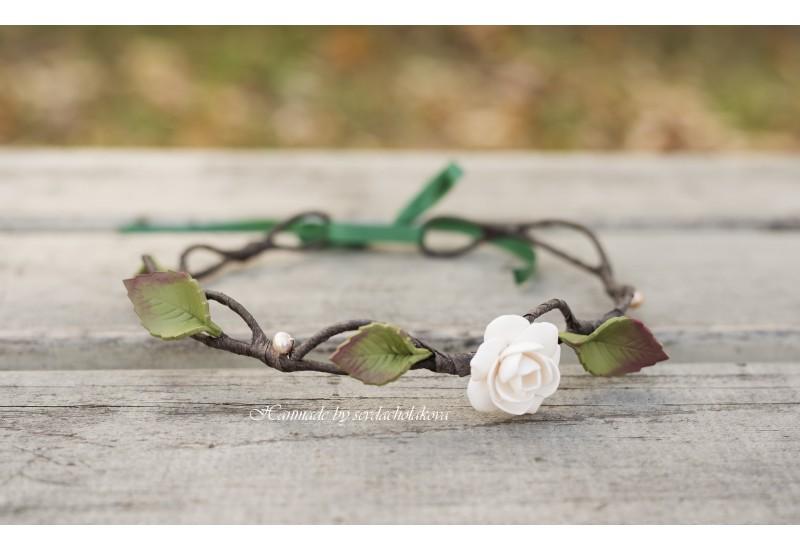 Floral Hair Wreath. Handmade Polymer Clay White Rose Headband, Hair Band