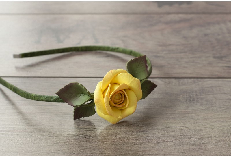 Floral Hair Band. Handmade Polymer Clay Yellow Rose Headband, Hair Wreath