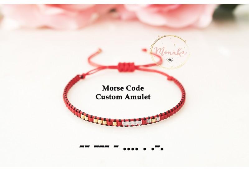 Custom Morse Code Bracelet, Morse Code Amulet. Personalized, Minimal Bracelet